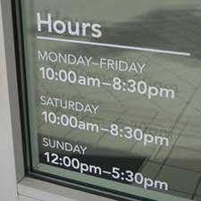opening hours window stickers